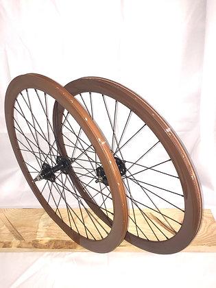 Wheelset Single Speed w/ deep alloy rim w/ flip-flop hub (brown)