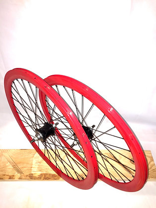 Wheelset Single Speed w/ deep alloy rim w/ flip-flop hub (red)
