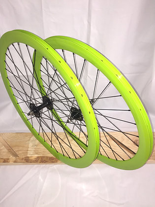 Wheelset Single Speed w/ deep alloy rim w/ flip-flop hub (neon green)