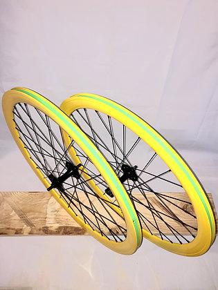 Wheelset Single Speed w/ deep alloy rim w/ flip-flop hub (yellow)