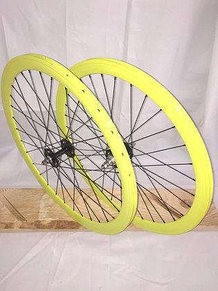Wheelset Single Speed w/ deep alloy rim w/ flip-flop hub (neon yellow)