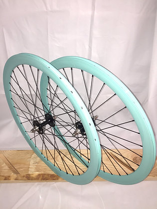 Wheelset Single Speed w/ deep alloy rim w/ flip-flop hub (celeste)