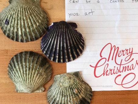 Seashells as canvas.