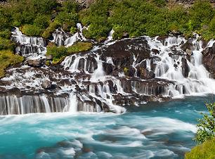 Hraunfossar waterfall on our Borgarfjordur Valley day tour