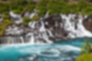 Hraunfossar waterfall is one of the many sights on our Borgarfjordur Valley day tour