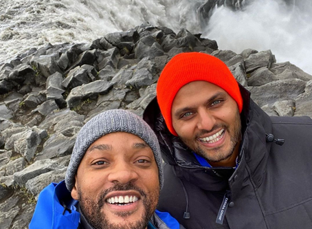 Famous actor Will Smith working and having fun in Iceland