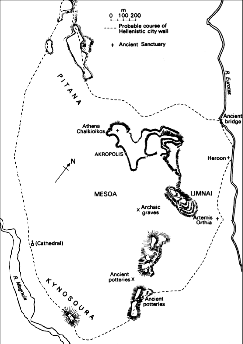 Topographical map of early Sparta