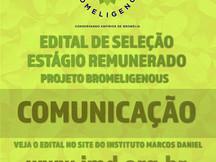 PROJETO BROMELIGENOUS: EDITAL DE SELEÇÃO ESTÁGIO REMUNERADO DE COMUNICAÇÃO