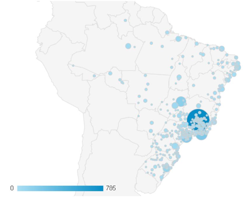 Mapa de acessos no Brasil ao Portal do Pré-Simpósio Online.