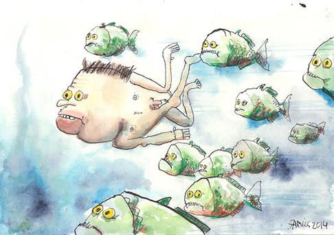 Raised by piranhas