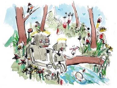 Vater und Sohn Roboter im Wald