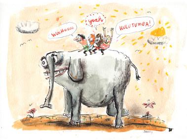 Kids auf Elefant