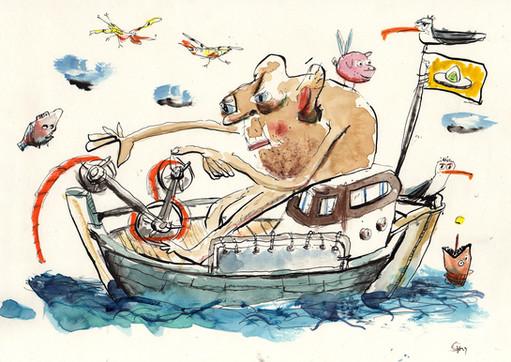 Riese auf Fischerboot