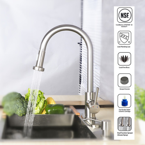 LUTAVOY D0643 High Arch Pull Down Dual Sprayer Kitchen Sink Faucets |  Upgrade Your Life With LUTAVOY Bathroom Hardwares,Kitchen Gadgets