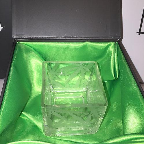 Leaf etched square glass votive candle holder.