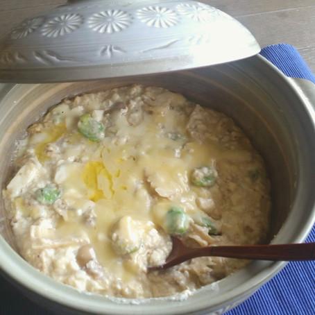 タケノコと空豆の豆乳土鍋グラタン