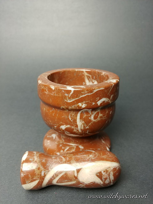 Fossilized Red Coral Mortar & Pestle