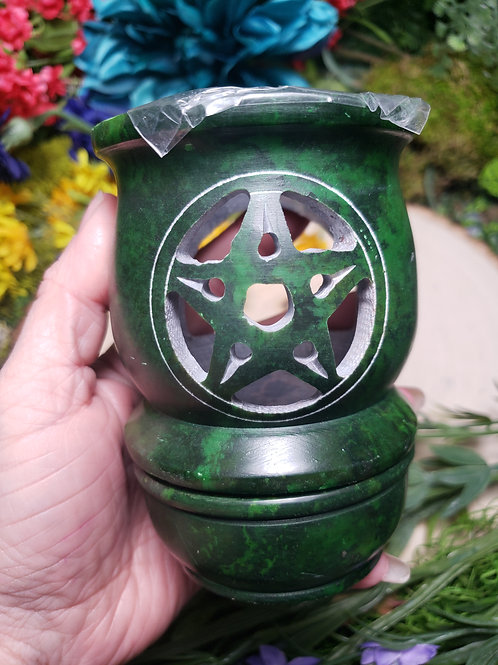 Soapstone Pentacle Wax, Oil and  Incense Burner