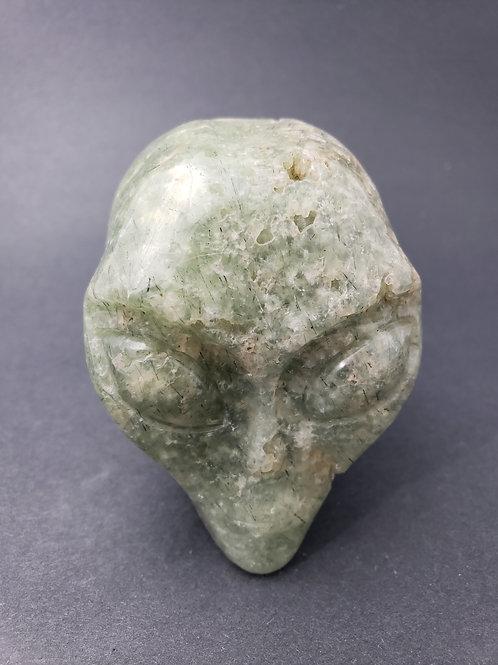 Prehnite with Epidote Alien Skull