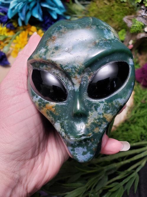 Moss Agate Alien Skull with Obsidian Eyes