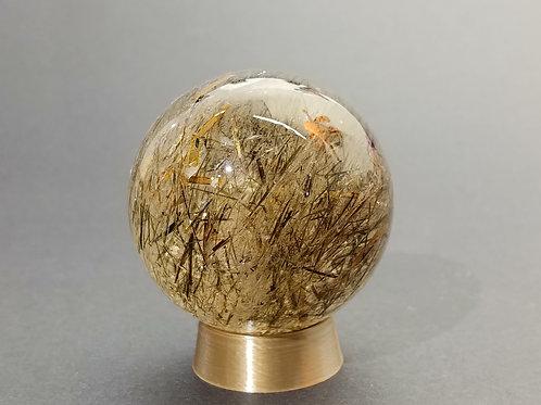 Rutilated and Tourmalated Quartz Sphere