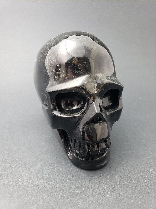 Silver Sheen Obsidian Skull