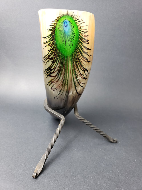 Peacock Drinking Horn