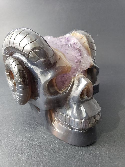 Amethyst Geode Skull