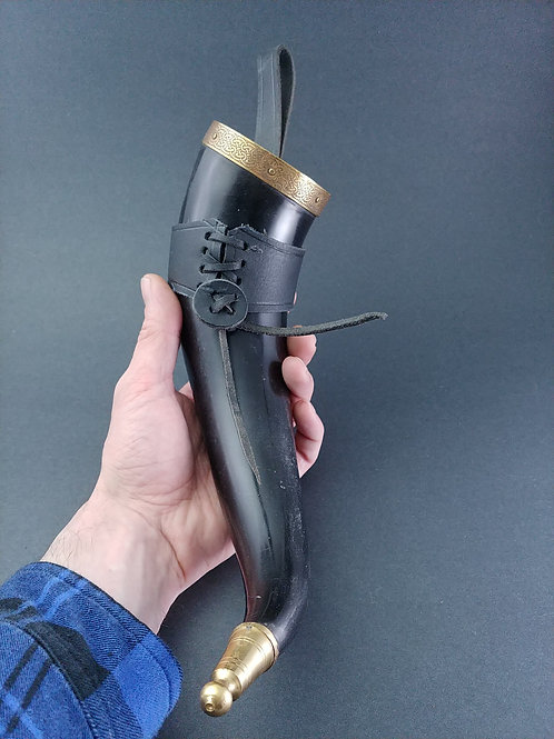 Brass Plated Drinking Horn