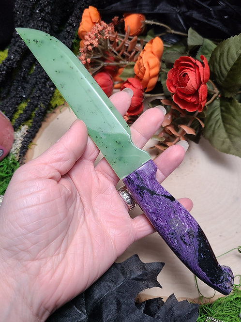 Charoite and Old Stock Jade Athame