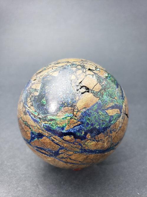 Azurite in Malachite Sphere