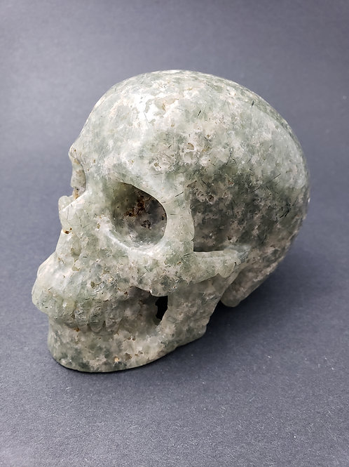Prehnite with Epidote Skull