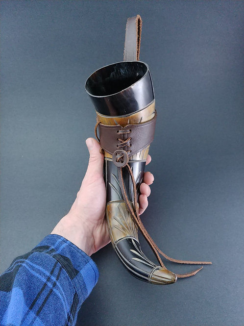 Carved Drinking Horn