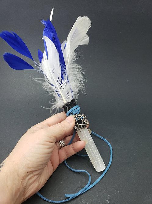 Selenite Feather Wand