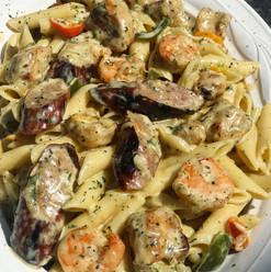 Shrimp, Chicken, & Sausage Rasta Pasta.J