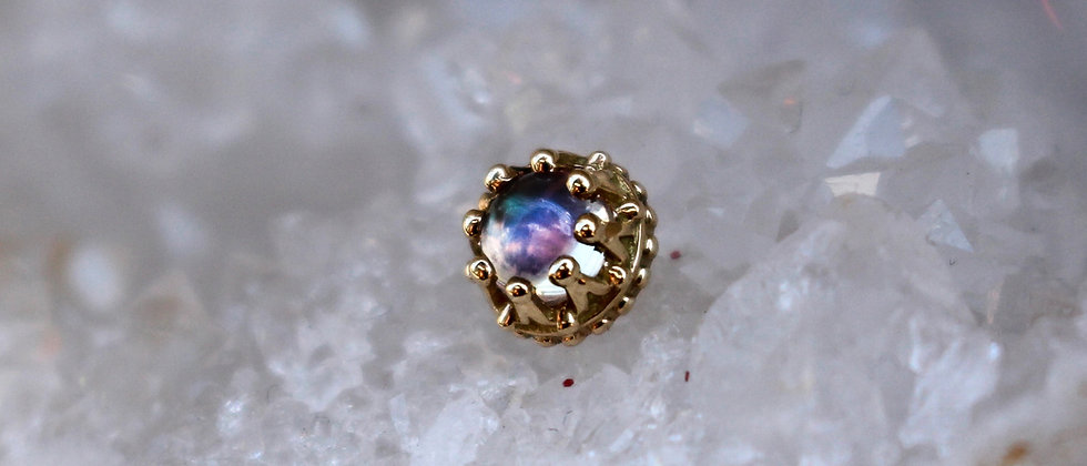 BVLA - 14K Yellow Gold Crown/ Rainbow Moonstone