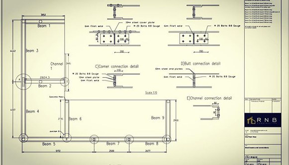 Steelwork design for a cantilevered ring