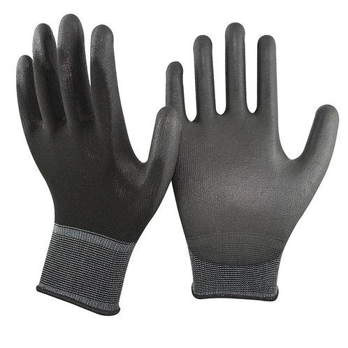 13G black Nylon/Polyester Glove coated black PU on Palm