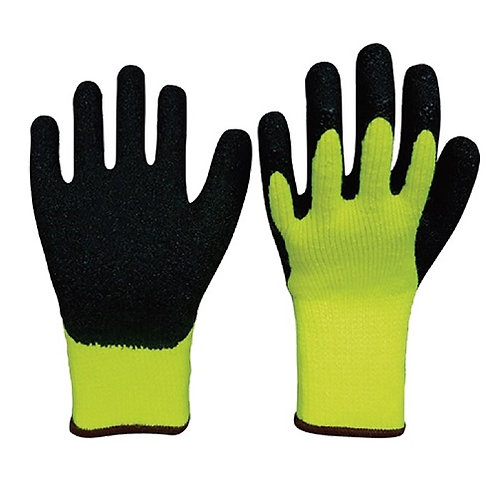7G Fluorescent Acrylic Glove coated Crinkled Latex on Palm, Flock Fleece inside