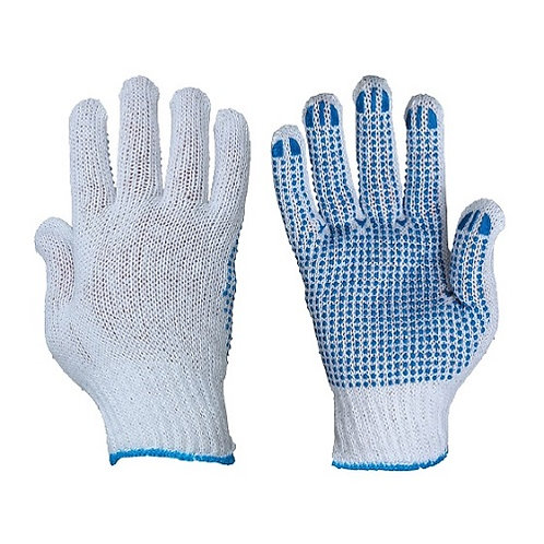 10G Cotton/Polyester Glove with PVC Dots on Palm