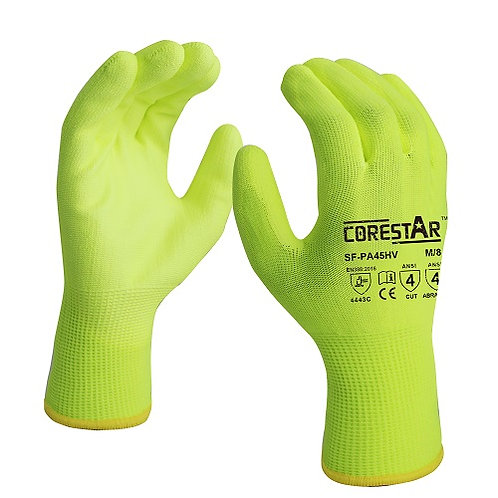 "CoreStar ANSI CUT 4 ""Hi Viz"" Nylon Knit PU Coating SF-PA45HV"