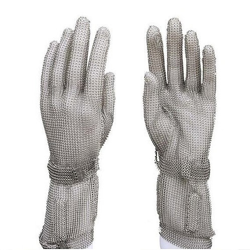 Stainless Steel wire mesh Cut-Resistant Glove, long cuff protective