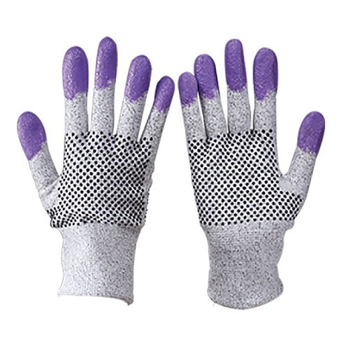 13G HPPE Glove coated Nitrile on Fingertips and Silicon Dots on Two Sides