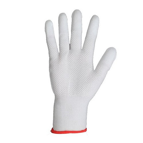 13G white Nylon/Polyester Glove coated white PU and PVC dots on Palm