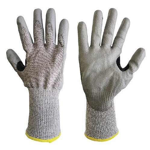 13G HPPE/Steel Fiber Anti-Cut Gloves coated PU on Palm, Reinforced Thumb