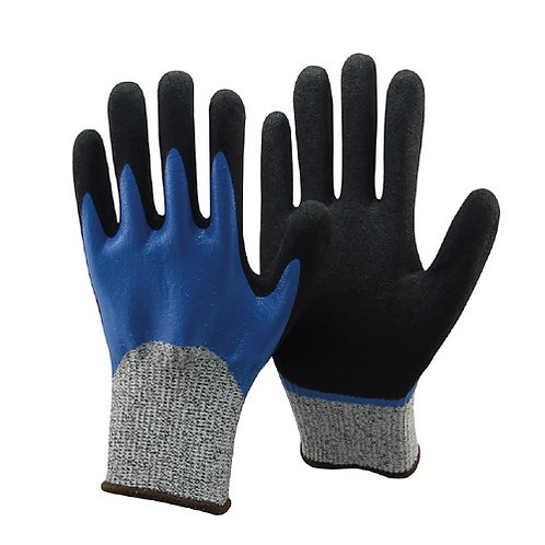 13G HPPE Anti-Cut Glove Fully coated Nitrile and Sandy Nitrile double on Palm