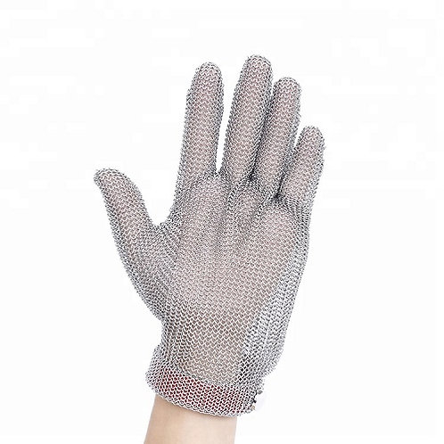 Stainless Steel wire mesh Cut-Resistant Glove with nylon belt on the Wrist