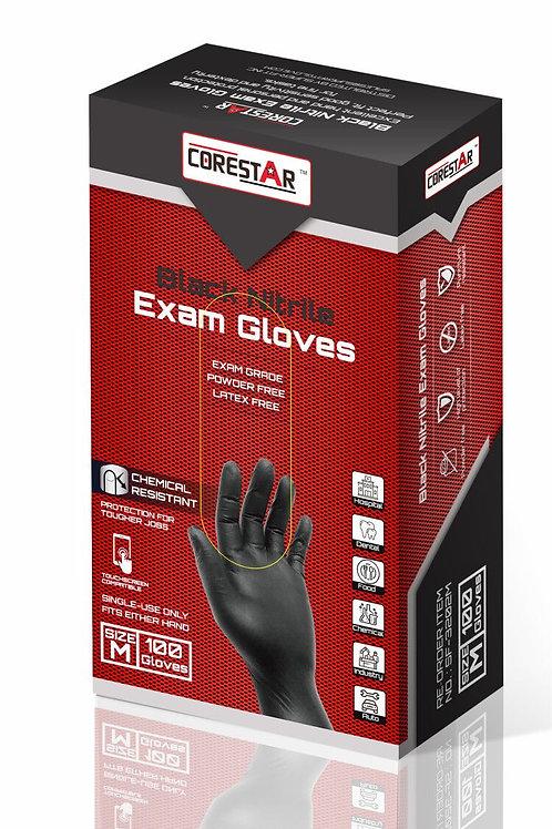 CoreStar Black Nitrile Exam Gloves (1 Case - 10 Boxes)