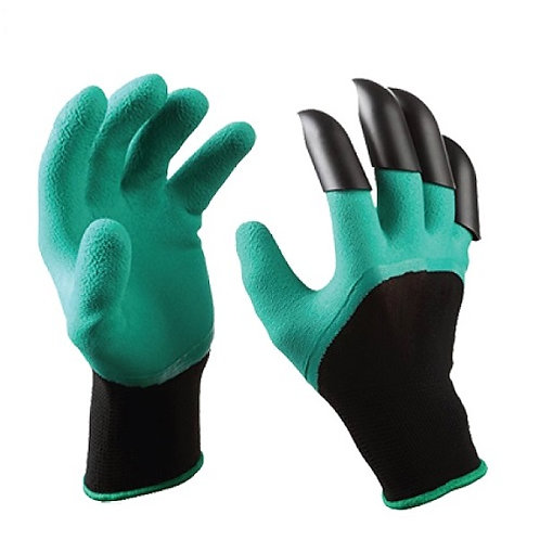 13G Garden Gloves coated 3/4 Latex Foam, with right hand Fingertip Claws