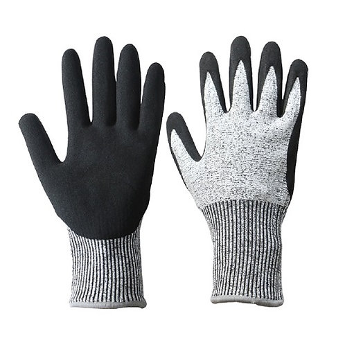 13G HPPE Anti-Cut Glove coated black Sandy Nitrile  on Palm